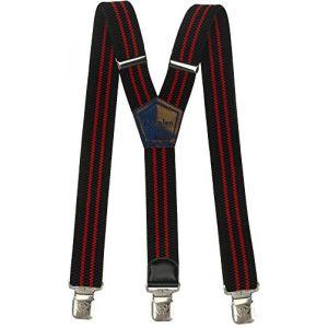 Bretelles Y entièrement réglable pour Homme Femme 4 cm avec 3 Clips élastique Solide Casual Pantalon Jeans Différentes Couleurs Noir, Marron, Bleu (Noir-Rouge-Rayures) (Decalen France, neuf)