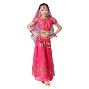 FEOYA Déguisement Fille Princesse Ensemble Robe Danse Inidenne Costume Bollywood Danse Oriental Carnaval Déguisement Halloween 8-10ans Rose Rouge (FUOUEU, neuf)