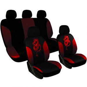 WOLTU AS7213 Couverture de siège de voiture,housses de siège universelle polyester,motif dragon,Noir Rouge (WOLTU GmbH, neuf)