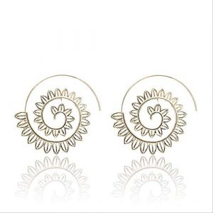 Boucles d'oreille pour femmes Punk personnalité ethniqueéviderspirale boucles d'oreilles femmes rond spirale cercle feuilles Piercing boucle boucle d'oreillee0447 (Graceguoer, neuf)
