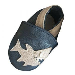 LSERVER Chaussures Bébé en Cuir Souple Premiers Pas Chaussons Semelle Douce, Requin Bleu et Blanc, X (18-24 Mois, Longue Interne: 14cm) (YFPICO-EU, neuf)