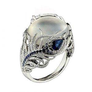 KEATTL Bague Femme,Rétro Unique Guirlande Pierre De Lune Bleu Zircon Diamant Bleu Ciel Carré Anneau Banquet Bijoux (Multicolore) (KEATTL, neuf)