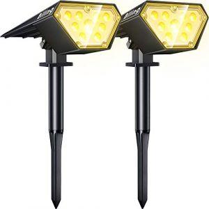 Biling Spot solaire d'extérieur 2 en 1 - 12 ampoules LED à énergie solaire - Étanche IP67 - Applique murale réglable pour terrasse, allée, cour, jardin, allée, piscine - Blanc chaud (lc smarts, neuf)