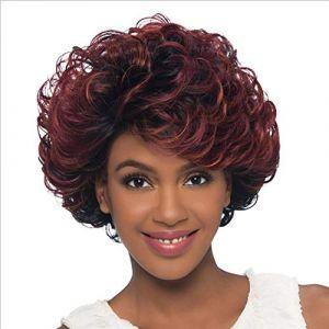 Perruque moelleuse perruque cheveux noirs bouclés noir vin rouge personnalité mate fausses coiffures perruque (petrichor87, neuf)