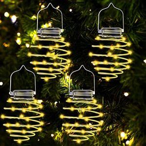 Lanterne Solaire à LED Pour l' Extérieur,4 Pièces 80 Lumières Spirales Solaires LED Lampe Solaire en Métal Suspendue Lanterne Solaire étanche IP65 Pour Jardin,Terrasse,Véranda,Trottoir,Halloween (Afaneep, neuf)