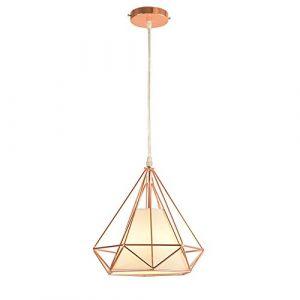 STOEX E27 Métal Retro Lustre Suspension industrielle forme Diamant 25cm, Lampe de Plafond Abat-Jour Luminaire, Or Rose (STOEX, neuf)