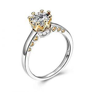 KEATTL Bague Femme,Créatif Or Et Argent Deux Tons Gothique Forme De Coeur Couronne Diamant Se Marier Anneau Princesse Bijoux Accessoires (7, Argent) (KEATTL, neuf)
