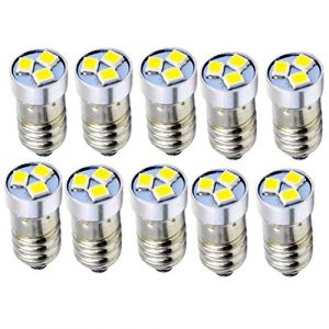Ruiandsion Lot de 10 ampoules LED 3 V 6 V 12 V E10 3030 3SMD Blanc de rechange pour phares lampe torche, lampe torche, terre négative, 3V 0.36watts 3.00volts (Ruiandsion, neuf)