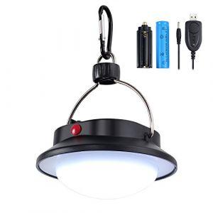 Justech Lanterne Camping LED Lampe Bivouac 60 LED Réglable Suspension Rechargeable Blanche Lampe Lumen pour Camping Jardin Lecture Bricolage - Avec Batteries (Justecheu, neuf)