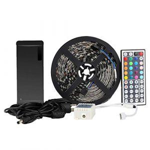 LED Strip EPBOWPT 5050 SMD RGB 5m 16.4 ft 300 Kit ruban lumineux bande Kit bande LED étanche IP65 en noir PCB avec télécommande 44 touches + UE Plug DC 12 V Alimentation (KitKich-DE, neuf)