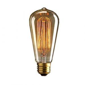 DDLBiZ 1 x ampoule vintage. Style rétro Edison. E27. Ampoule à vis ST64 19 ancres, 40 W, 220 V - Cage d'écureuil, lampe antique à filament tungstène en verre. [Classe énergétique D] (KOOLTI, neuf)