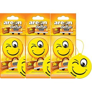 AREON Smiley Désodorisant Voiture Vanille Rétroviseur Drôle Fun Rigolo Suspendu Jaune Maison (Vanilla Lot de 3) (BN Direct Supply, neuf)