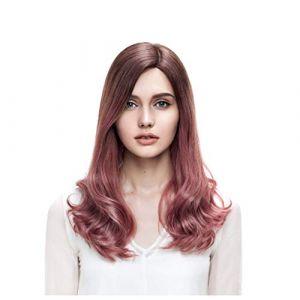 Perruque, Longs Cheveux Bouclés Femme Dans Le Volume De Vague Naturel Brun Poudre De Corail Gradient Couleur Real Hair (CanMaoWu, neuf)