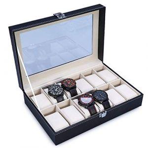 The perseids Ecrin pour Montres pour 12 montres Présentoir/Coffret/Boîte de stockage 12 montres Coffret de rangement bijoux et accessoires Cadeau pour homme (12 montres, Noir) (Sandy's euSHOP, neuf)