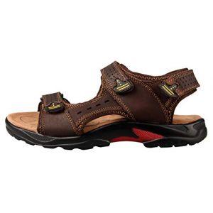 Chaussure Sandale Homme Été Sandale de Marche Randonnée en Cuir Bout Ouvert à Scratch Confortable Marron Taille 45 (Fashionmarket-EU, neuf)