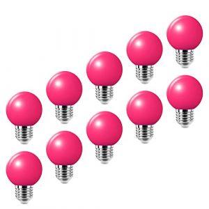 Lampe de golf rose E27 LED petite ampoule Edison à vis couleur 2W, ampoule à économie d'énergie équivalente à une ampoule à incandescence de 20W, AC220-240V 10 packs (HUAMu, neuf)