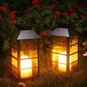 Lot de 2 Lanterne Solaire Exterieur Lampe Solaire de Jardin IP44 Imperméable Vintage Lumière en Plastique Accrochant Éclairage Décorative LED LumièRes de Bougie pour Garden Patio Couloir FêTe (Noir) (UlmisfeeDirect, neuf)