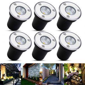 Spot encastrable au sol à LED 6er B-right, lampadaire encastré 3W pour l'extérieur, Spot encastrable au sol extérieur, antirouille, chargeable jusqu'à 800 kg, 12V-24V DC, acier inoxydable rond blanc (For Light Life, neuf)
