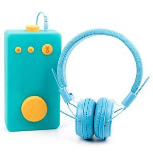 DURAGADGET Casque Bleu Enfant Compatible avec Lunii, ma Fabrique à Histoires - Repliable + Microphone intégré (DISCOUNT ACCESSOIRES, neuf)