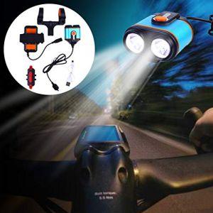 TriLance Lampe VTT LED Puissante Lampe Vélo Eclairage VTT Phare Vélo LED Rechargeable Etanche 5000 Lumens XM-L T6 de 3 Mode de Lumière, Lampe de Bicyclette, Lampe Frontale (Noir) (TriLance, neuf)