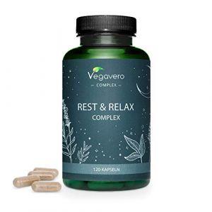 Complément Aide Sommeil Naturel Vegavero® | 120 gélules | Relax | Mélatonine + Valériane + Passiflore + Lavande + Bacopa | Sommeil Réparateur | Insomnie Sommeil | Rest & Relax Complex | Vegan (Vegavero, neuf)