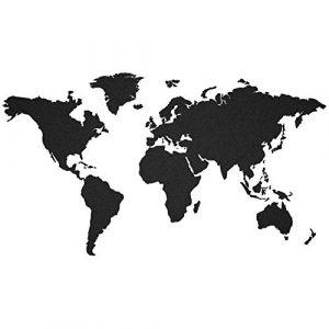 murando – Noir – Carte du Monde 140x75cm – Tableaux en liege 100% autocollant - Tableau a craie - peint a la main – A coller directement sur le mur – Liege – Moderne k-A-0102-u-a (murando, neuf)