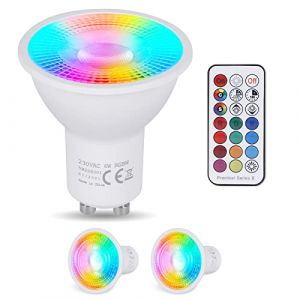 YAYZA! 2-Paquet Premium Dimmable GU10 6W RGB + Blanc chaud 3000K Couleur changeante IR Télécommande LED Spot Downlight Ampoule (ClickBuy Group, neuf)