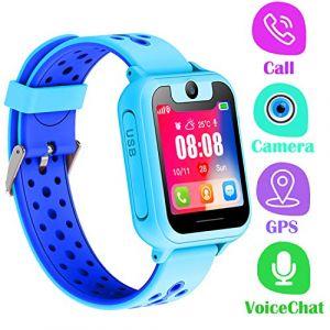 Montre Telephone Enfant - Smartwatch GPS LBS Tracker avec Caméra Jeux Lampe de Poche Pédomètre pour Garcon Fille Compatible avec Les Smartphone Android iOS (GPS, Blue) (PTHTECHUS, neuf)