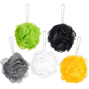 BRUBAKER Cosmetics - Fleur de bain & douche - Lot de 5 - Éponge exfoliante - Qualité supérieure - Nylon - Couleurs assorties (BRUBAKER (Der Schnellversender!), neuf)