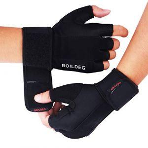 BOILDEG Gants de Musculation,Pleine Protection de la Paume Extra Grip Respirant Anti-dérapant l'exercice d'entraînement haltérophilie Training Fitness Hommes Femmes (BLACK, S) (HCCTechnology, neuf)