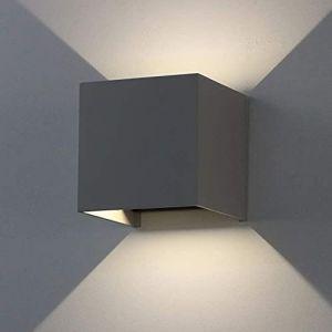 K-Bright 12W Gris foncé Appliques murales LED, haut et bas faisceau lumineux réglable, IP65, Blanc naturel, décoratives d'intérieur (Oppsun-EU, neuf)