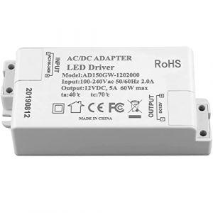 Transformateur d'alimentation LED Adogo - 60 W, 12 V CC, 5 A - Tension constante pour lampes à LED et ampoules LED G4, MR11, MR16, blanc, 60W 60.00watts 12.00volts (AISHARE, neuf)