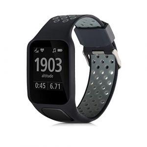 kwmobile Bracelet Compatible avec Tomtom Adventurer/Runner 3/Spark 3/Golfer 2 - Bracelet de Rechange en Silicone pour Fitness Tracker Bleu-Gris (KW-Commerce, neuf)