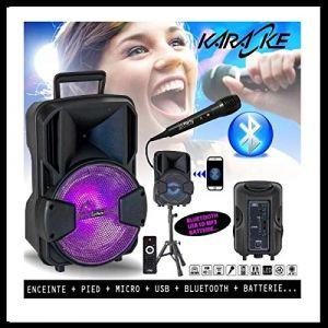 Pack Karaoké Enceinte USB SD BLUETOOTH + PIED + MICRO + BATTERIE idéal cadeau Noël, d'anniversaire PA DJ SONO MIX LED LIGHT (Starmix, neuf)