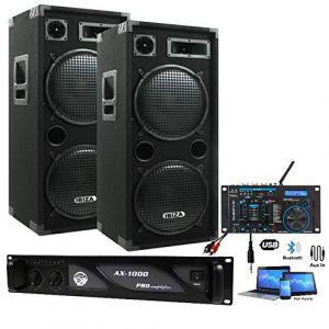 SONO 3000W pack dj complet + TABLE DE MIXAGE USB + 2 ENCEINTES 2000W + 1 AMPLI 1000W PA SONO DJ LIGHT BAR CLUB DISCO SOIREE DANSANTE (Starmix, neuf)