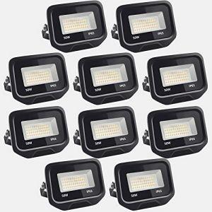 10pcs 50W 5000LM Lumières Extérieures 6500K Projecteur LED Ultra Mince Spot LED Extérieur Projecteur LED Extérieur Blanc Froid Lampe Projecteur IP65 Etanche Câble 0.5M [Classe énergétique A++] (NATUR, neuf)