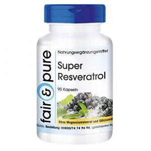 Resvératrol trans - super resvératrol naturel d'extrait de renouée avec bioflavonoides - 90 gélules - vegan - avec rutine - OPC et quercétine (Fair & Pure, neuf)