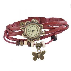 Vintage Montre à Bracelet à Deux Boucles Tressées 20.9cm Style de Papillon (Housewarming, neuf)