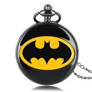 Batman Thème Montre à Quartz Montre de Poche DC Comics Rond Poche Montres, Collier Cadeau pour Homme Femme (MYM-Dream, neuf)