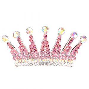 Frcolor Pleine Ronde Couronne Pageant Strass Perle Tiara Bandeau Accessoires De Cheveux pour le Mariage (Rouge Pastèque) (Ansuen, neuf)