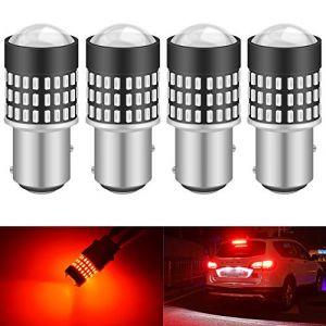 KaTur 1157 BAY15D 1016 1034 7528 Ampoule LED 900 Lumens 3014 78SMD Lentille Ampoules LED pour feu Stop Clignotant Feu arrière Feu de recul, Rouge Brillant (Pack de 4) (KAtur, neuf)