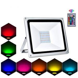 Projecteur LED Extérieur RGB,Lacyie 50W 5000LM Spot LED de Couleur avec Télécommande,16 Couleurs,4 Modes et 8 Luminosité IP65 Étanche Éclairage de Sécurité pour Jardin,Fête,Cour,Terrasse,Garage (Chang Pin-show, neuf)