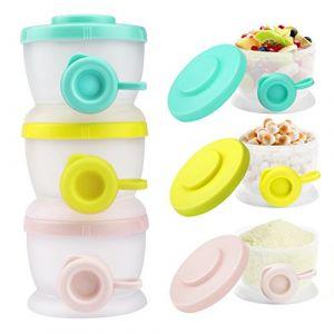 Zooawa Boîtes de Conservation de Lait Poudre de Bébé, Distributeur Empilable de Poudre de Lait de Formule de 3 Morceaux et Récipient de Stockage,sans BPA, Couleurs Légères (Joiel EU, neuf)