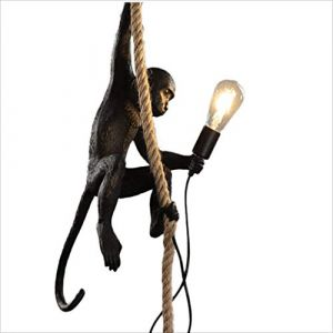 Lampe de singe de style industriel Vintage, lustre de résine créative de personnalité, lustre de singe de corde de, E27 (Color : Black) (benben-store, neuf)
