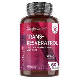 RESVERATROL - Extrait de Vin Rouge Pur - 100% Naturel - Antioxydant Puissant - Perte de Poids - Brûle-Graisses - Booste le Métabolisme - Soutient le Coeur - 60 Gélules - 250mg - Vegan - par WeightWorld (Comfort Click FR, neuf)