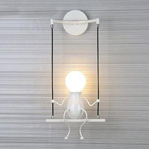 Lampe Murale Moderne Mode Applique Murale Créatif Simplicité Design Appliques pour Chambre d'enfant Couloir Décoratives Eclairage Lampe Douille E27*1 max. 40W , Blanc (SMCGJL, neuf)
