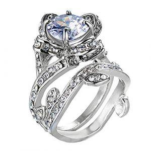 KEATTL Bague Femme,Créatif Rétro Diamant Zircon Creux Fleur Anneau La Mode Bijoux Accessoires (7, Argent) (KEATTL, neuf)
