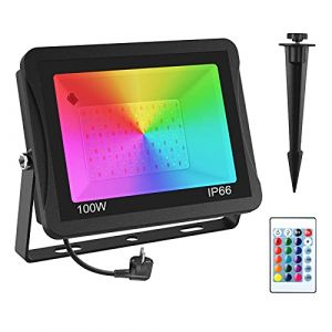 Projecteur LED RGB Exterieur 100W, NATPOW RGB Projecteur LED Couleur Spot LED Couleur de Jardin 16 Couleurs 4 Modes avec Télécommande Etanche IP65 Pour Arbre Soirée Bar Fête (T-SUN Tech EU, neuf)