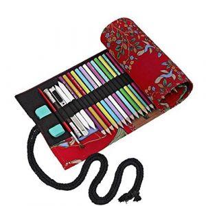 Amoyie trousse à crayon enroulable pour 36 crayons de couleur, sacs organiseurs de toile, porte-crayons pochettes rouleaux, enveloppe de crayon (amoyie, neuf)