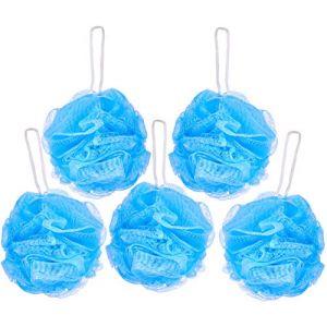 BRUBAKER Cosmetics - Fleur de bain & douche - Lot de 5 - Éponge exfoliante - Qualité supérieure - Nylon - Bleu (BRUBAKER (Der Schnellversender!), neuf)